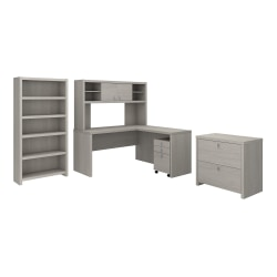 kathy ireland® Office by Bush Business Furniture Echo L Shaped Desk With Hutch, Bookcase And File Cabinets, Gray Sand, Standard Delivery
