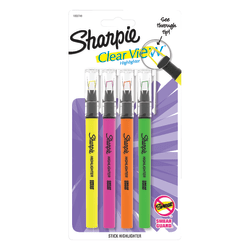 Sharpie® Clear View® Stick Highlighters, Chisel Tip, Assorted Ink Colors, Pack Of 4