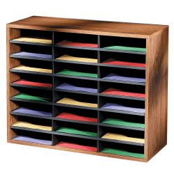 "Fellowes® Literature Organizer, 24 Compartments, 23 7/16""H x 29 7/16""W x 11 7/8""D, Oak"