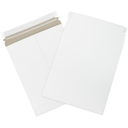 "Office Depot® Self-Seal Stayflats Mailers, 9"" x 11 1/2"", White, Pack Of 25"