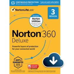 Norton™ 360 Deluxe with Norton Utilities, For 3 Devices, 1 Year Subscription, Windows®, Download