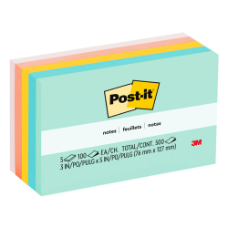"""Post-it® Notes, 3"""" x 5"""", Marseille Color Collection, Pack Of 5 Pads"""