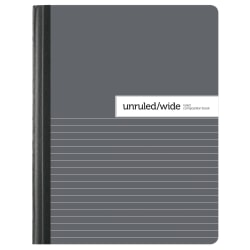 """Office Depot® Brand Composition Book, 7-1/2"""" x 9-3/4"""", Unruled/Wide Ruled, Gray/White, 100 Sheets (200 Pages)"""