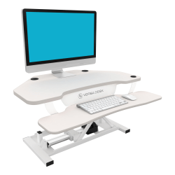VersaDesk Power Pro Corner Push-Button Electric Height-Adjustable Sit-to-Stand Desk Riser, White