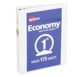 "Avery® Economy Binders With Round Rings, 5 1/2"" x 8 1/2"", 1"" Rings, White"