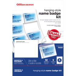 Office Depot® Brand Name Badge Kit, Pack Of 50