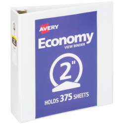 """Avery® Economy View 3-Ring Binder, 2"""" Round Rings, 37% Recycled, White"""