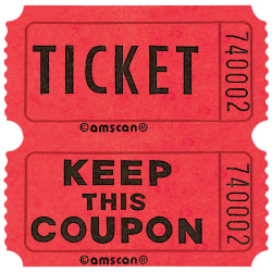 """Amscan Double Ticket Roll, 6-1/2""""H x 6-1/2""""W x 2""""D, Red, 2,000 Tickets Per Roll"""