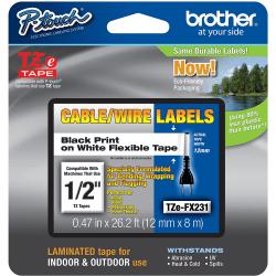 "Brother® TZe-FX231CS Black-On-White Tape, 0.5"" x 26.2'"