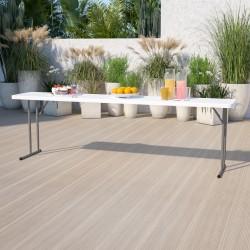 "Flash Furniture Plastic Folding Training Table, 29""H x 18""W x 96""D, White"
