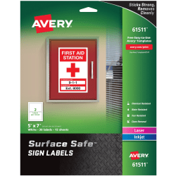 """Avery® Surface Safe Sign Labels, 7"""" x 5"""", Rectangle, Pack Of 30"""