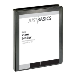 "Just Basics D-Ring View Binder, Basic, 1"" Rings, 38% Recycled, Black"