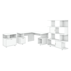 """kathy ireland® Home by Bush Furniture Madison Avenue 60""""W L-Shaped Desk With Lateral File Cabinet And Bookcase, Pure White, Standard Delivery"""