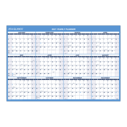 "AT-A-GLANCE® Horizontal Yearly Erasable Wall Calendar, 48"" x 32"", January to December, PM30028"