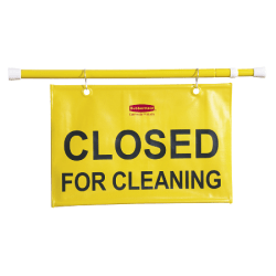 """Rubbermaid® """"Closed For Cleaning"""" Hanging Safety Sign"""