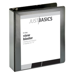 "Just Basics® Basic View 3-Ring Binder, 2"" D-Rings, 38% Recycled, Black"