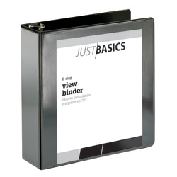 """Just Basics D-Ring View Binder, 3"""" Rings, 38% Recycled, Black"""