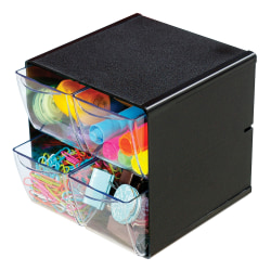"Deflect-O® Stackable Cube With 4 Drawers, 6""H x 6""W x 6""D, Black"