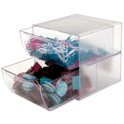 "Deflect-O® Stackable Cube With 2 Drawers, 6""H x 6""W x 7 1/8""D, Clear"