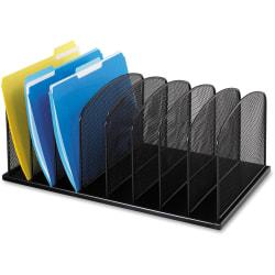 Safco Mesh Desk Organizers 8 Compartments 2 8 3 Height X 19 3 Width X 11 5 Depth Desktop Black Steel 1each Office Depot