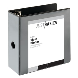 "Just Basics D-Ring View Binder, Basic, 5"" Rings, 38% Recycled, Black"