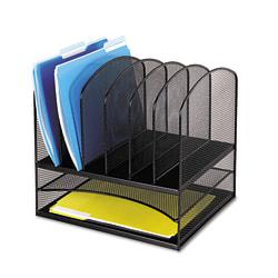 "Safco® Onyx Mesh Desk Organizer, 13""H x 13 3/4""W x 11 1/2""D, Black"