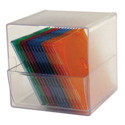 "Deflect-O® Stackable Cube With 1 Drawer, 6""H x 6""W x 6""D, Clear"