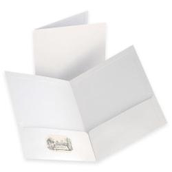 "Oxford™ Laminated Twin-Pocket Portfolios, 8 1/2"" x 11"", White, Pack Of 10"