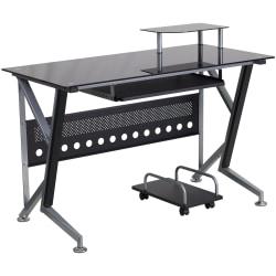 Flash Furniture Contemporary Glass Computer Desk, Black