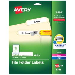 "Avery® TrueBlock® Permanent File Folder Labels, 8366, 2/3"" x 3 7/16"", White, Pack Of 750"