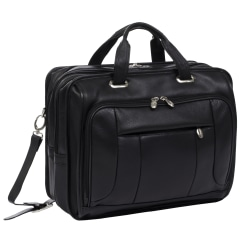 McKlein River West Leather Laptop Case, Black