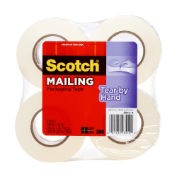"Scotch® Tear-By-Hand Packaging Tape, 1-7/8"" x 50 Yd., Clear, Pack of 4 Rolls"