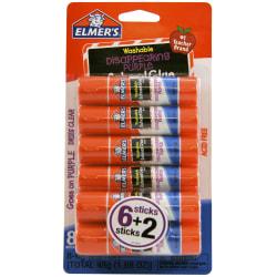 Elmer's® Washable Disappearing Purple School Glue Sticks, 0.21 Oz., Pack Of 6 + 2 Bonus Sticks