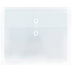 """JAM Paper® Plastic 9-3/4"""" x 13"""" Envelopes With 2-Dividers, Button & String Closure, Clear, Pack Of 12"""