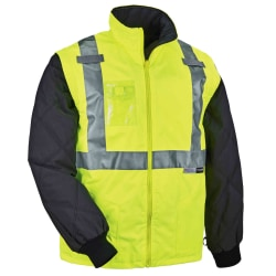 Ergodyne GloWear® 8287 Type R Class 2 High-Visibility Thermal Jacket With Removable Sleeves, X-Large, Lime