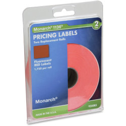 Monarch® Pricemarker Labels, 2-Line, Fluorescent Red, Pack Of 3,500 (2 Rolls)