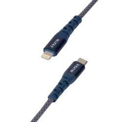 iHome Ultra Boost Nylon Lightning To USB-C Cable, 6', Blue