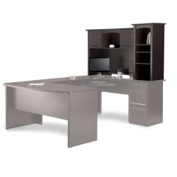 "Realspace® Broadstreet 65""W Hutch For U-Shaped Desk, Walnut"