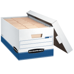 "Bankers Box® Stor/File™ Medium-Duty Storage Boxes With Locking Lift-Off Lids And Built-In Handles, Letter Size, 24"" x 12"" x 10"", 60% Recycled, White/Blue, Case Of 4"