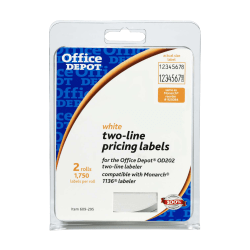 Office Depot Brand® Pricemarker Labels, 2-Line, White, Pack Of 3,500 (2 Rolls)