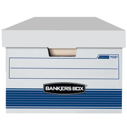 "Bankers Box® Stor/File™ FastFold® Standard-Duty Storage Boxes With Locking Lift-Off Lids And Built-In Handles, Legal Size, 24""D x 15"" x 10"", 60% Recycled, White/Blue, Case Of 4"
