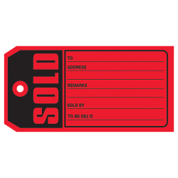 "Office Depot® Brand ""Sold"" Tags, #5, 4 3/4"" x 2 3/8"", Red, Box Of 1,000"