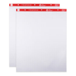 """Office Depot® Brand Grid Easel Pads, 27"""" x 34"""", 30% Recycled, White/Blue Grid, 50 Sheets Per Pad, Pack Of 2 Pads"""