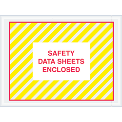 """Tape Logic® Preprinted Packing List Envelopes, SDS, Safety Data Sheets Enclosed, 4 1/2"""" x 6"""", Printed Clear, Case Of 1,000"""