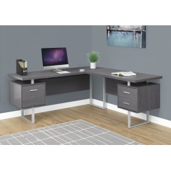 Monarch Specialties L-Shaped Corner Computer Desk With 2 Drawers, Gray