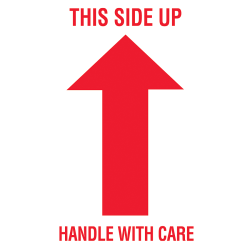 """Tape Logic® Preprinted Shipping Labels, DL1050, Arrow With """"This Side Up Handle With Care"""", 3"""" x 5"""", Red/White, Roll Of 500"""