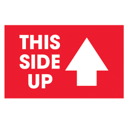 "Tape Logic® Preprinted Shipping Labels, DL1481, Arrow With ""This Side Up"", 5"" x 3"", Red/White, Roll Of 500"