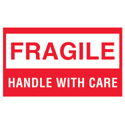 "Tape Logic® Preprinted Shipping Labels, DL1070, Fragile, ""Fragile™Handle With Care"", 3"" x 5"", Red/White, Roll Of 500"