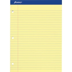"""Ampad Perforated 3 Hole Punched Ruled Double Sheet Pads - Letter - 100 Sheets - 0.28"""" Ruled - 15 lb Basis Weight - 8 1/2"""" x 11""""8.5""""11.8"""" - Canary Yellow Paper - Micro Perforated, Stiff, Chipboard Backing - 100 / Pad"""