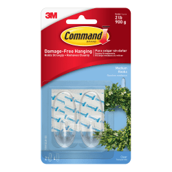 3M™ Command™ Clear Hooks, Medium, Clear, Pack Of 2